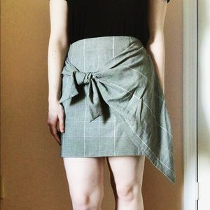 Who What Wear Tie Front Plaid Skirt